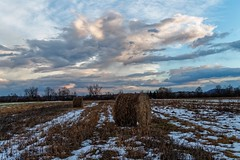 Variable cloudiness and forgotten bales of straw (malioli) Tags: dusk twilight sky clouds hay staw rural agriculture fields snow winter cold croatia hrvatska europe canon
