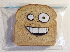 Friday Face (D Laferriere) Tags: art smile face bag eyes dad father sandwich sharpie attleboro laferriere kritzels