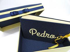 Caixa + dirio e livro de assinatura do Pedro (Pedaos & Retalhos) Tags: do beb nascimento maternidade dirio padrinhos fabriccoveredbox livrodeassinaturas presentematernidade caixarevestidadetecido