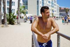 Photo Shoot : Alan (jkc.photos) Tags: california sea shirtless sky man male beach tattoo losangeles sand exercise outdoor santamonica workout fitness caucasian dipbars