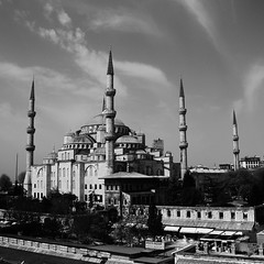 Blue Mosque Black and White (sonofwalrus) Tags: blackandwhite slr canon turkey middleeast istanbul mosque bluemosque masjid eos7d