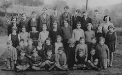 Llangyniew, Wales (theirhistory) Tags: school photo class form group children boys girls kids primary junior jacket shorts dress skirt shoes wellies teacher wellingtonboots tie pupils students education