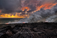 Beach Construction (pdxsafariguy) Tags: lava volcano ocean pacific sunrise clouds rock steam nationalpark eruption geology hawaii usa kilauea water sea travel nature basalt cracked tomschwabel