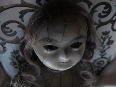 YUELIANG_slit-head wax doll_1820 (leaf whispers) Tags: wax doll antique creepy scary bizarre weird obsolete toy cracked crazing human hair real victorian 19th century 1800 old girl woman female entropy distressed madalice montanari papiermache papermache haunted spirit ghost witch lady slit slithead auction forsale head edwardian georgian death mementomori decay grief loss horror sinister haunting devil evil chiaroscuro shadow shadows mourning moon moonlight melancholia melancholy fashion queen ann anne