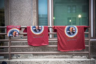 Shirts Hang on the Streets Outside the Presidential Inauguration of Donald Trump