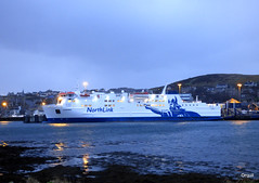 The Hamnavoe Ferry Berthed At Stromness (orquil) Tags: hamnavoe roro ferry large striking memorable viking logo northlinkferry berthed alongside northpier stromness harbour sheltered bay seaside old town waterfront mixed buildings houses hillside shoreline cloudy january afternoon winter prominent lights westmainland orkney islands scotland uk unitedkingdom greatbritain orcades interesting scenic eyecatching nice frequent dailysailings