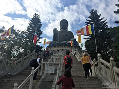 View of the Big Buddha statue, Tian Tan, on Lantau Island in Hong Kong. (okaystephanie) Tags: hong kong travel culture china history urban spaces cityscapes ferris wheel skyscrapers street art asia modern chinese architecture nature buddha tian tan statues sky lifts trams signs signage
