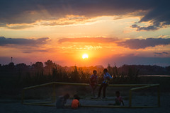 Under the sunset (Hoang Nam Duong) Tags: travel asia laos child sunset sun sky cloud kids chidhood outdoor afternoon