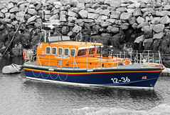 Leverburgh Lifeboat Scotland (Dave Russell (1.5 million views thanks)) Tags: lifeboat rnli rnlb royal national ifeboat institution life boat ship vessel vehicle transport emergency service rescue leverburgh scotland isle island harris outer hebrides water sea ocean port harbor harbour orange blue travel mooring buoy 1236 thames mersey class pier outdoor ruby5