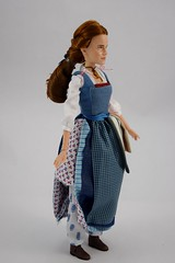 Film Collection Belle and Gaston Doll Set - Live Action Beauty and the Beast - Disney Store Purchase - Deboxing - Belle Deboxed - Free Standing - Full Left Front View (drj1828) Tags: us disneystore beautyandthebeast liveactionfilm 2017 belle disneyfilmcollection 12inch posable dollset blue peasant dress deboxed freestanding
