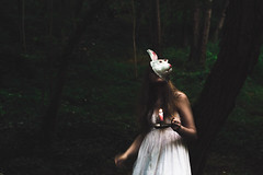 We are all mad here (Finding Alice) (Alexandra Bloch) Tags: alice wonderland summer forest portrait art color green rabbit mask light photograph project serie eyes