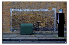 KIDS 0 STREET FURNITURE 2 (StockCarPete) Tags: streetgoal street brickwork streetfurniture curbstone pavement chiswick london football cricket westlondon streetsport noballgames wall paintedgoal wicket kids play