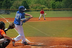 My son doing what he loves most (guido1515) Tags: blue summer game sport youth fence ball photography hit baseball sony alabama bat sigma son swing player nike teen jersey third 20 catcher base infield easton mitt 18250 demarini