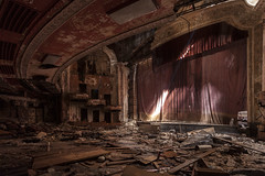 from the pit. (EXPLORED) (stevenbley) Tags: city urban history newjersey rust theater theatre decay nj historic urbanexploration seats jersey curtains mold riots movietheater urbanexploring mildew urbex raceriots 5dmk2 canon5dmarkii