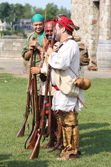 French Soldiers and Native American Warrior (Itinerant Wanderer) Tags: newyorkstate reenactment 18thcentury oldfortniagara fortniagarastatepark niagaracounty frenchandindianwarencampment