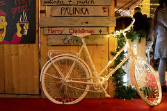 Christmas Fair in Budapest (Majorimi) Tags: fair market canon eos digital 70d budapest night light christmas xmas people street winter cold celebration buildings city lights decoration byke bycicle white