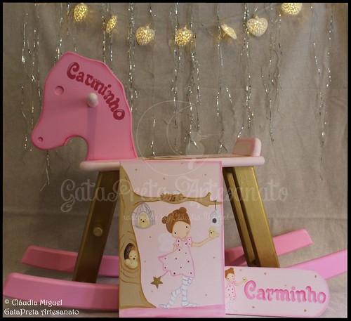 """Cavalo de baloiço, tela e placa de porta """"Nature Fairy"""""""