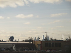 Philadelphia Cityscape Skyline 0192 (Brechtbug) Tags: philadelphia cityscape above cars skyline pennsylvania traffic metropolis transit transportation from amtrak train window car trains gloomy 2017 pa 01192017 january philly penn