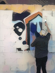 Painting Paintings (Steve Taylor (Photography)) Tags: art digital graffiti mural streetart abstract wall strange odd paint block man newzealand nz southisland canterbury christchurch addington shape shirt brush cap