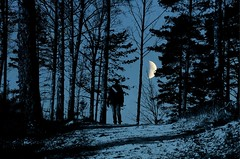 Just me, my camera and the moonlight! (mimmith) Tags: playing playfulness meandmycamera selfportrait forest forestrecovery forestwalk blackandblue moonart moon mooncrazy moonpoetry moonlight spiritmood doubleexposure