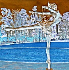 Ice Queen (clarkcg photography) Tags: statue ballet ice freezingrain icicles negative modified sliderssunday tulsa tulsahistoricalcenter oklahoma