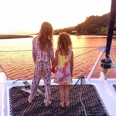 Sisters in sunset. Franklin. Huon River. Tasmania.