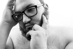 Day Two Hundred and Sixty-Two (MBPruitt) Tags: bear cub chub beard black white glasses photography portrait sad emotive emotion feeling really down today