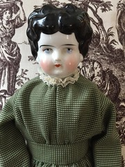 New dress for Agatha (Foxy Belle) Tags: doll handmade antique china head shoulder plate low brow germany green dress black toile sew sewing recycled