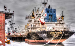 ...a long way from home... (jamesmerecki) Tags: portsmouthnh nh newhampshire cargo ship vessel salt hdr monrovia longcheer waterfront city portsmouth boat docked piscataqua winter newengland seacoast