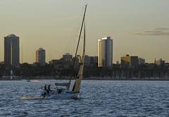 Milwaukee Lakefront at Dusk (MalaneyStuff) Tags: city sunset summer usa sailboat nikon dusk lakemichigan milwaukee sail 2015 55300mm d5100 denissullivanjuly2015