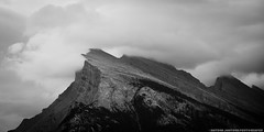 Gloomy Mt. Rundle (Witty nickname) Tags: blackandwhite bw mountain monochrome rain clouds landscape rockymountains d800 banffnationalpark mtrundle nikkor70200mmf28vr nikond800