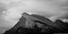 Gloomy Mt. Rundle (Witty nickname) Tags: blackandwhite bw mountain monochrome rain clouds landscape rockymountains d800 banffnationalpark mtrundle nikkor70200mmf28vr nikond800