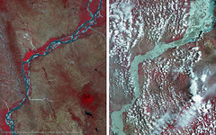 Before and after the flood of the Irrawaddy River, Myanmar (DMCii) Tags: cloud nature river landscape flood burma disaster rivers myanmar irrawaddy nir ayeyarwadyriver satellitedata dmcii ukdmc2 digitaldata redvegetation