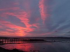Culross pier, Fife , Scotland (cocopie) Tags: sunrise culross pier fife red sky clouds