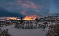 The last sunset of 2016 (Vagelis Pikoulas) Tags: sun sunset winter december snow colour colours colorphotoaward color colors landscape view canon 6d village vilia greece attica attiki europe sky clouds cloud cloudy tokina 1628mm