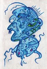 Blue Blood (darksaga66) Tags: bookofink penandink art inkart myart face doodle