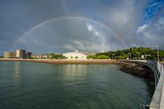 Darwin Waterfront rainbow (NettyA) Tags: australia darwin nt northernterritory city wetseason doublerainbow rainbow darwinconventioncentre darwinwaterfront stokeshillwharf clouds water reflection shadows light