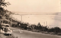 1940 Postcard - Looking East Overlooking the Pier and Semiahmoo Bay at White Rock, British Columbia, Canada (Treasures from the Past) Tags: whiterock bc britishcolumbia pier vintage semiahmoo semiahmoobay beach tracks railway railwaytracks