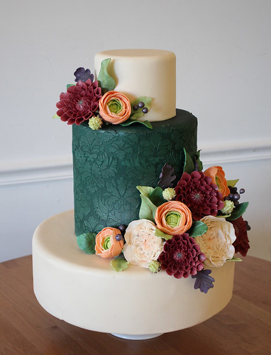 Winder Wedding Cake with Green Velvet Damask and Sugar Flowers