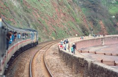 50036+50024 - 1A85 - Devon sea wall - 13/4/90 (A Neds Perspective) Tags: class50 vac 50036 50024 victorious vanguard devon doubleheader pair
