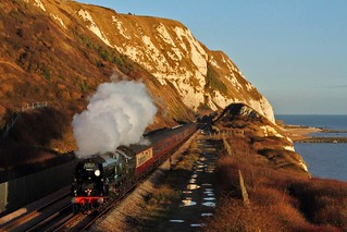 34046 Braunton on the 1Z46 London Victoria to Folkestone West at Capel le Ferne on the 22nd December 2016