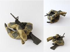 Diamondback Rattlesnake with AR-15 (Oriholic Jared) Tags: origami fold snake rattlesnake diamondback ar15 rifle oriholic jaredneedle liberty libertarian donttreadonme ifoldpaper