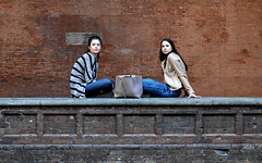 [ Sorelle di strada - Street sisters ] DSC_0577.2.jinkoll (jinkoll) Tags: street people girls gals friends symmetry sitting sit outdoor faces beauty town city bologna mediterranean bricks wall geometry passingby candid old building youth seat seated