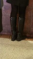 20170106_111921 (ph4eveh) Tags: black boots brown tights sexy legs woman candid