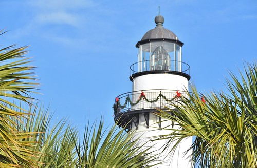 St.Simons lighthouse decorated for Christmas