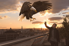 Ciudad Salvaje (B l u e A i r) Tags: eagle círculodebellasartes madrid azotea spain águila skyline city ciudad roof sunset atardecer contraluz fantasy fantasía dream dreamscape flying volando animal rubio chico domador fotocomposición photoshop