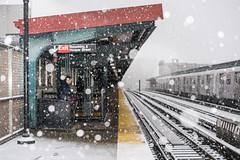 Sno train (Several seconds) Tags: snow mat mtrain brooklyn snowytrain elevatedsnowytrain platform waitingforthetrain tomanhattan gothamist trains station snowfall