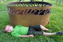 P1110643 (150hp) Tags: young boy xavier family cute happy amanda dan plasma cutting hands art studio fish creek fuel oil tank upcycling fire pit ring handmade goldfish panasonic lx3