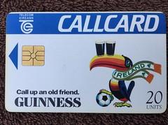 Telecom Eireann - Ireland - Pre-Pay Phone Call Cards - World Cup 1994 - Guinness (firehouse.ie) Tags: world ireland irish cup cards call phone fifa soccer guinness 1994 telecom eireann prepay telecomeireann 1994worldcup