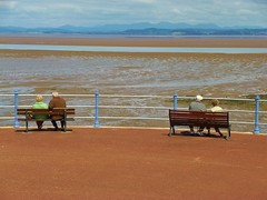 life in Morecambe, Lancashire (helenoftheways) Tags: uk people water sand sitting estuary sit benches seated contemplation morecambebay tidesout